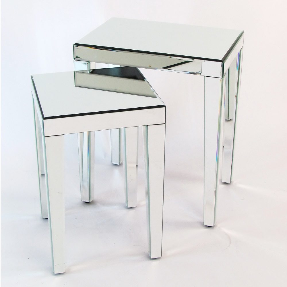 Set Of 2 Beveled Mirror Nesting Tables